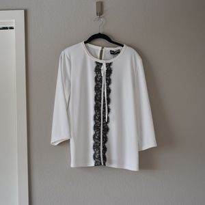 NWT Karl Lagerfeld White Bow Blouse Large